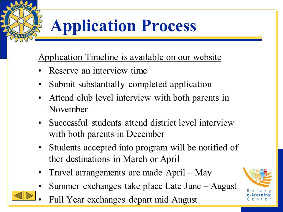 Application Process Application Timeline is available on our website