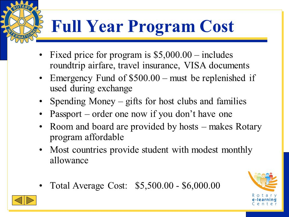 Full Year Program Cost Fixed price for program is $5,000.00 – includes roundtrip airfare, travel insurance, VISA documents.