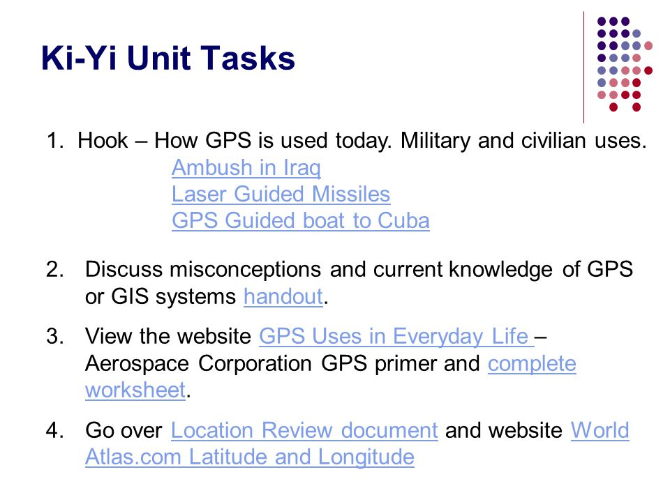 Ki-Yi Unit Tasks Hook – How GPS is used today. Military and civilian uses. Ambush in Iraq. Laser Guided Missiles.