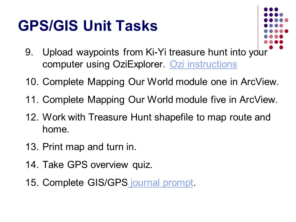 GPS/GIS Unit Tasks Upload waypoints from Ki-Yi treasure hunt into your computer using OziExplorer. Ozi instructions.