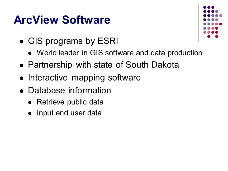 ArcView Software GIS programs by ESRI
