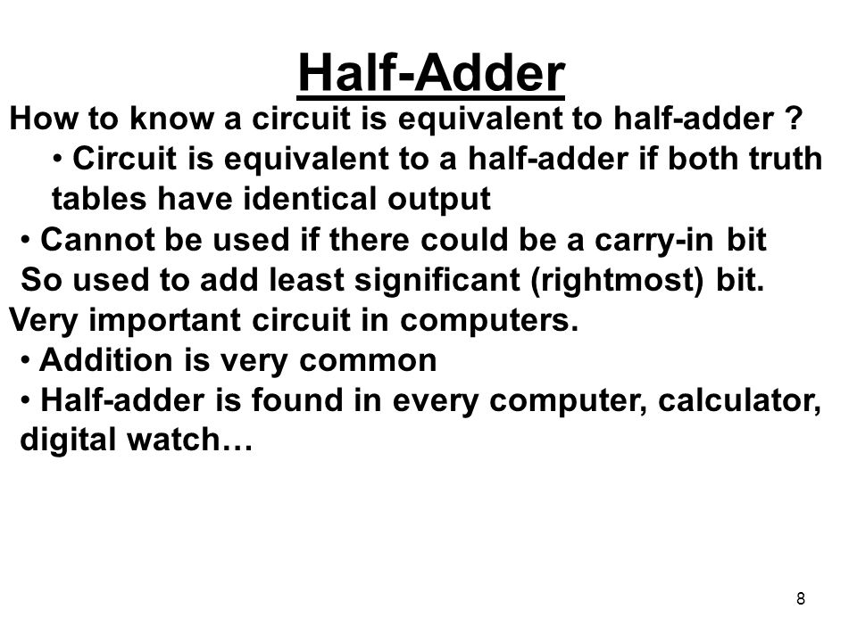 Half-Adder How to know a circuit is equivalent to half-adder