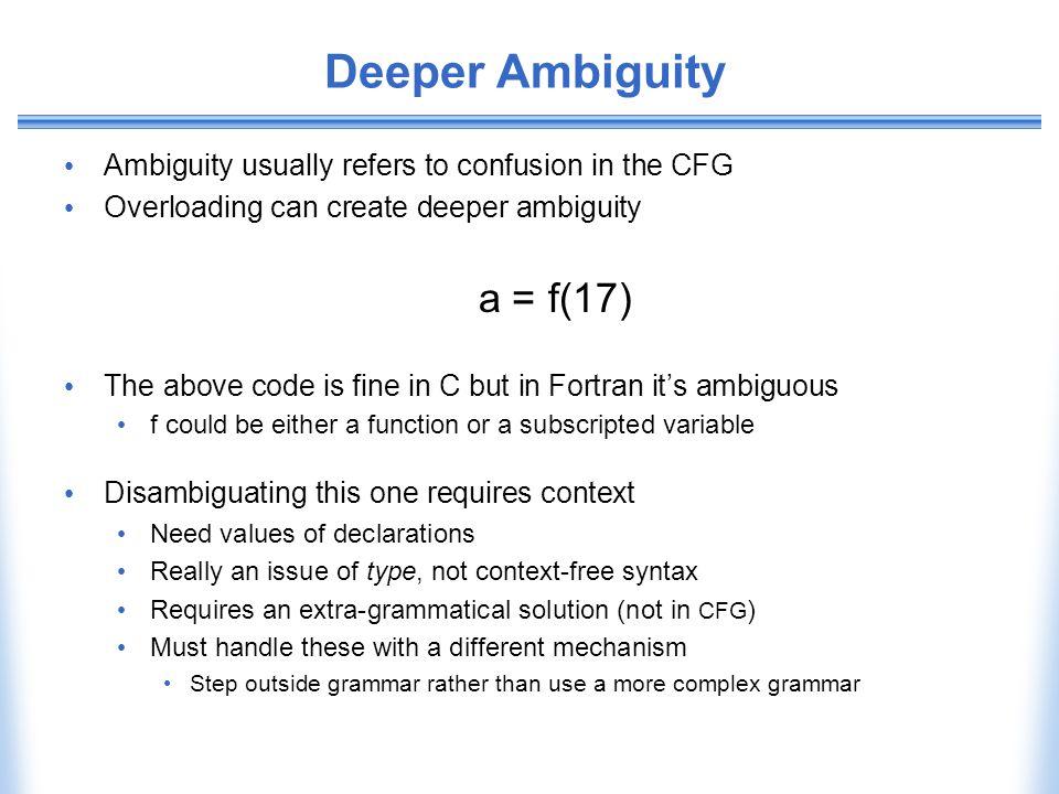 Deeper Ambiguity a = f(17)