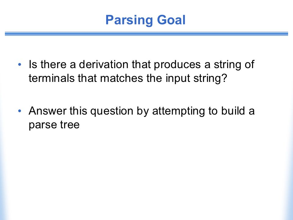 Parsing Goal Is there a derivation that produces a string of terminals that matches the input string