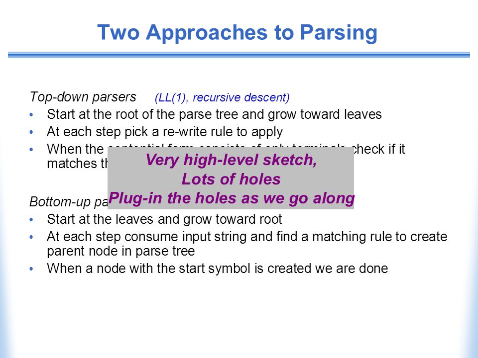 Two Approaches to Parsing