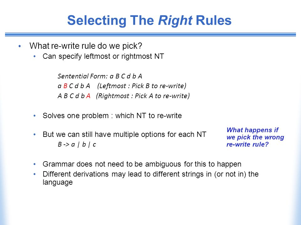 Selecting The Right Rules