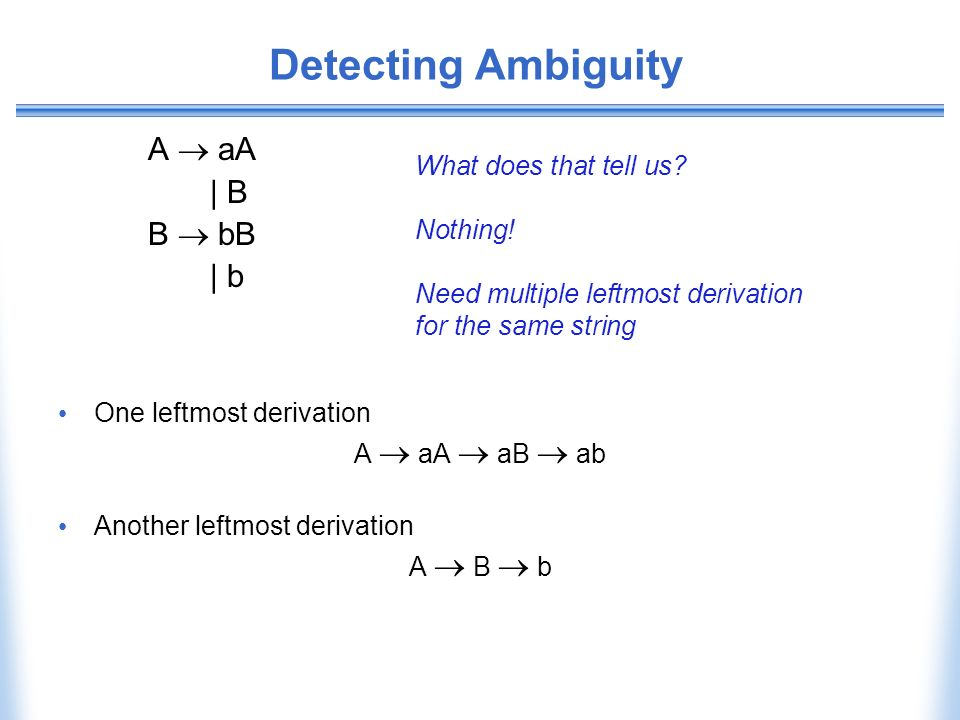 Detecting Ambiguity A  aA | B B  bB | b What does that tell us