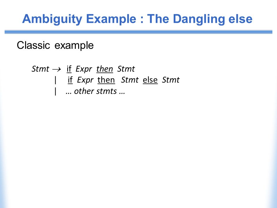 Ambiguity Example : The Dangling else