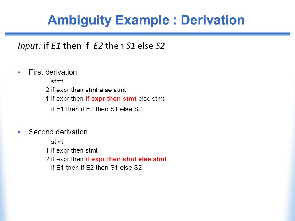 Ambiguity Example : Derivation