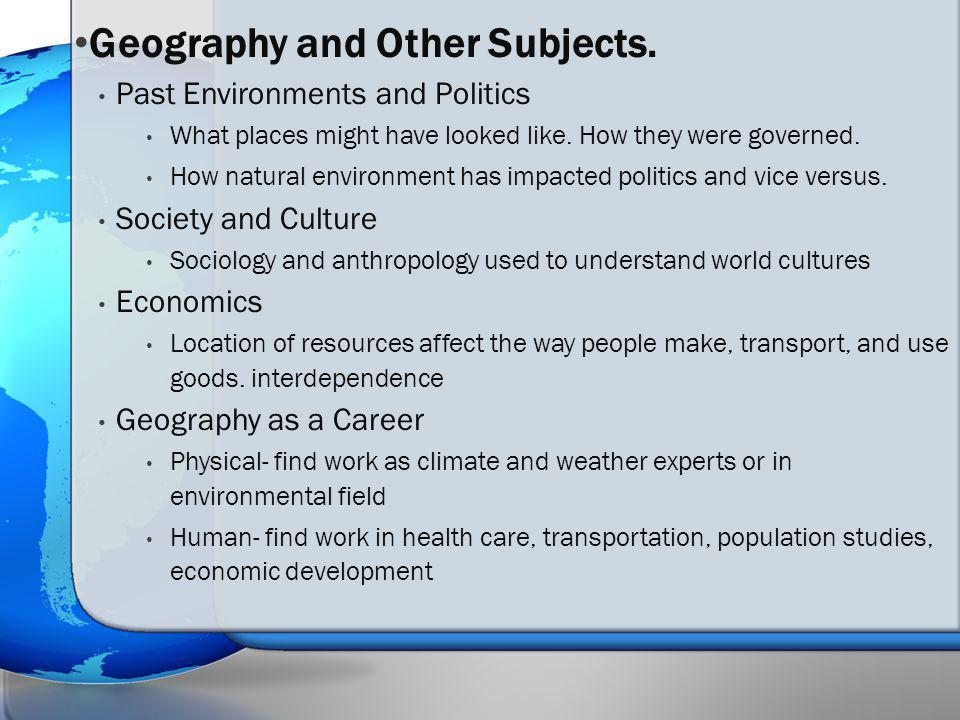 Geography and Other Subjects.