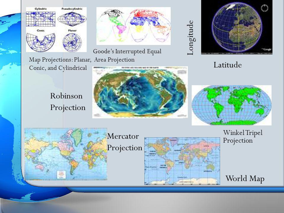 Longitude Latitude Robinson Projection Mercator Projection World Map