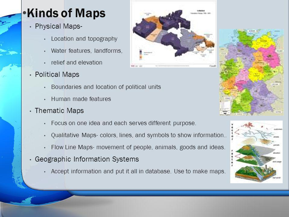 Kinds of Maps Physical Maps- Political Maps Thematic Maps