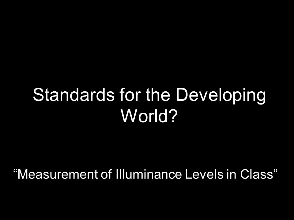 Standards for the Developing World