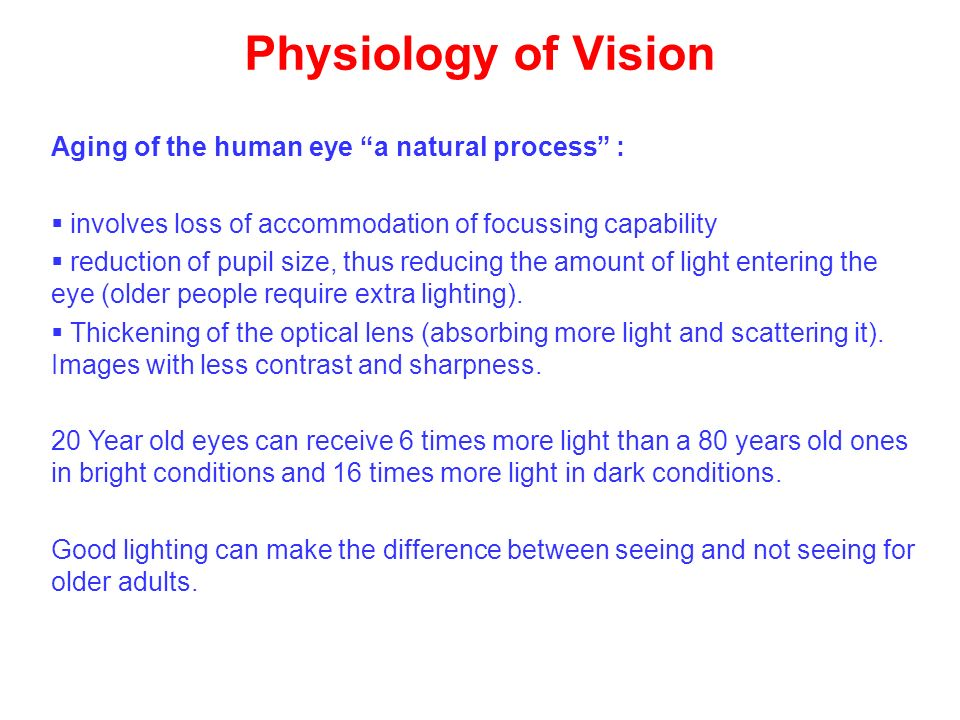 Physiology of Vision Aging of the human eye a natural process :