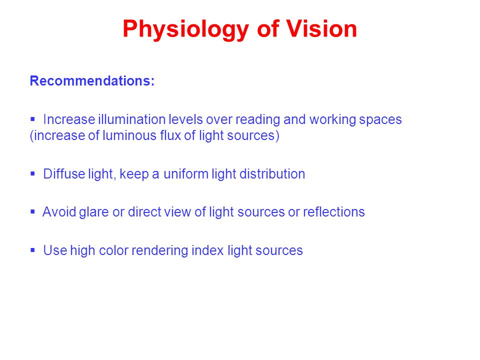 Physiology of Vision Recommendations: