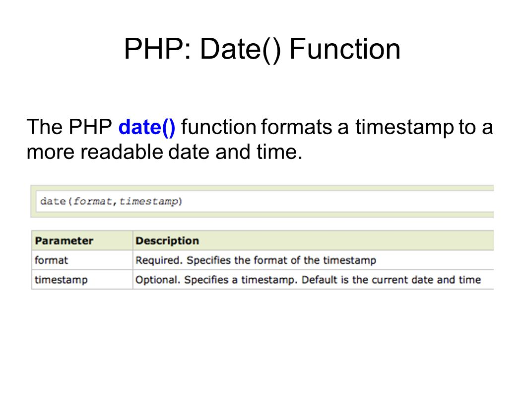 PHP: Date() Function The PHP date() function formats a timestamp to a more readable date and time.