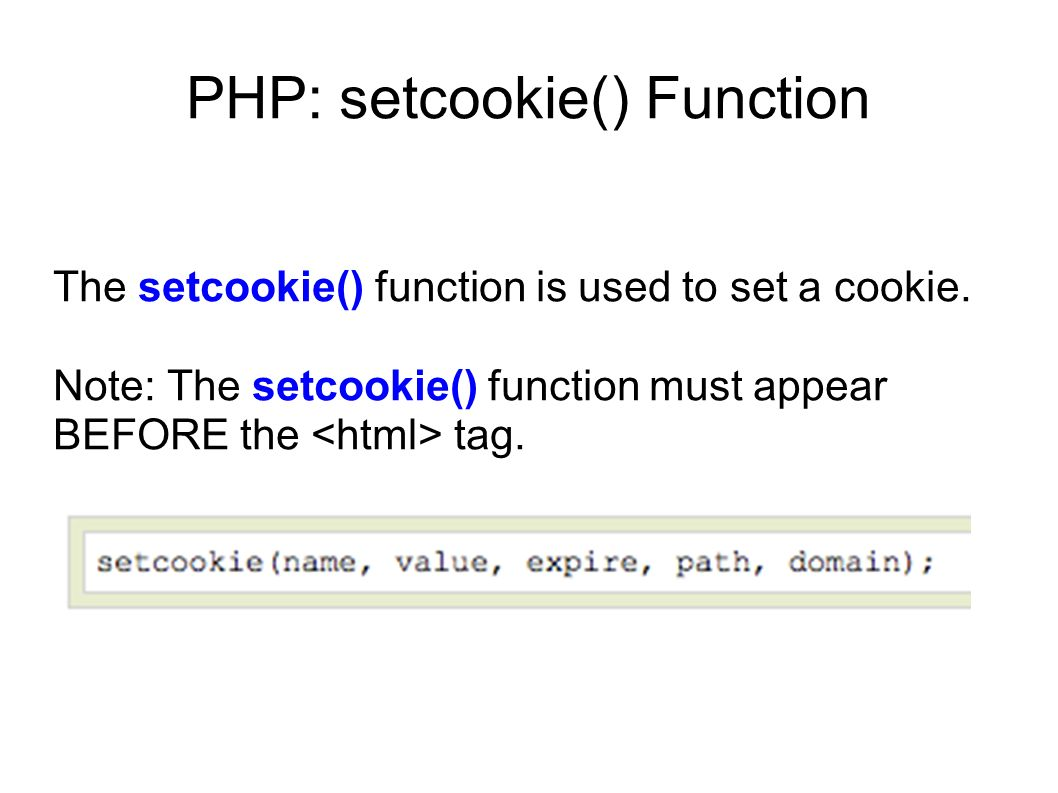 PHP: setcookie() Function