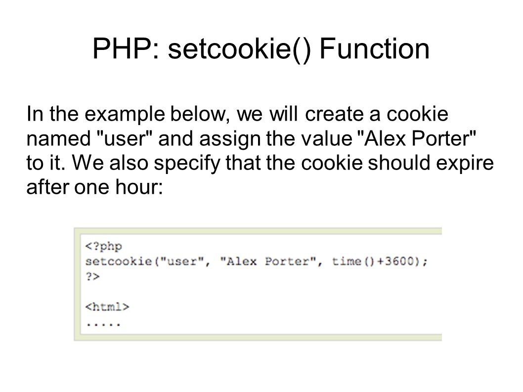 PHP: setcookie() Function