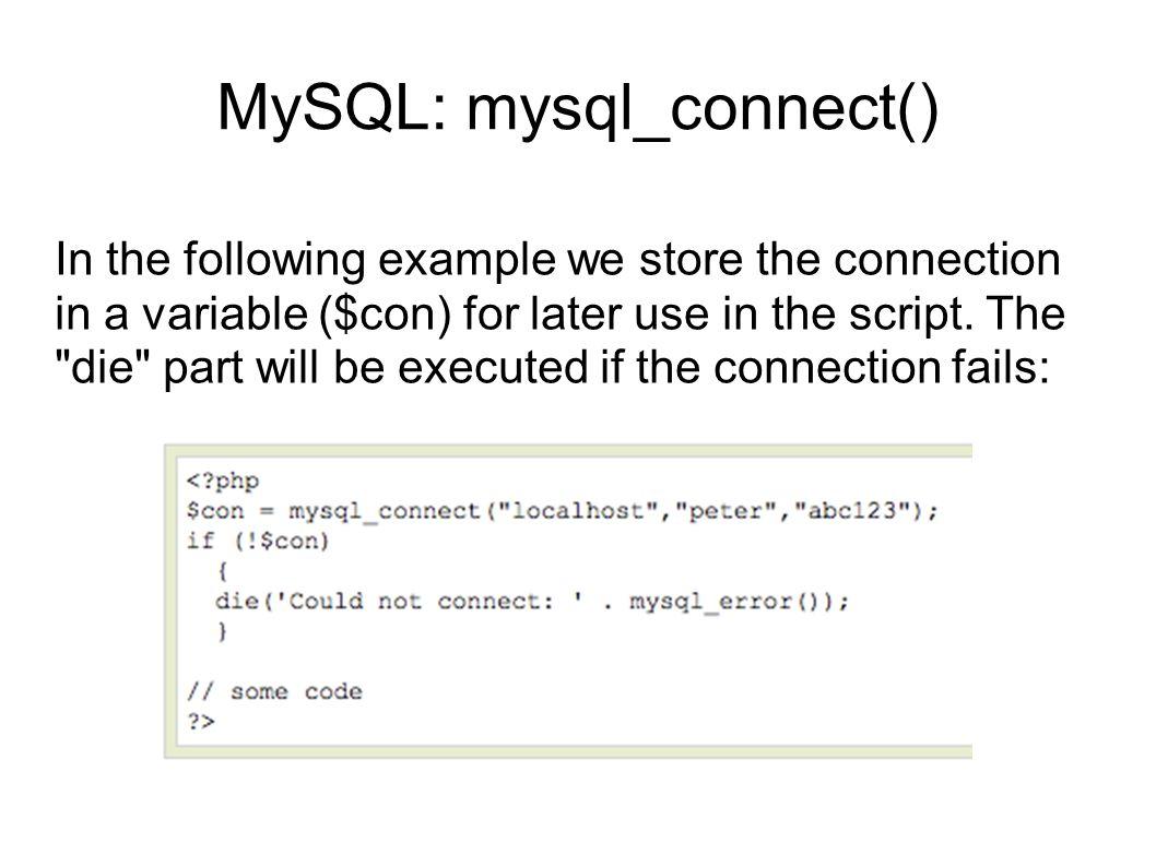 MySQL: mysql_connect()