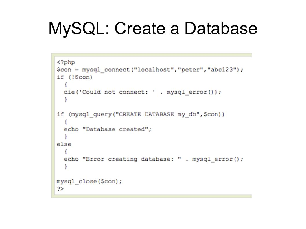 MySQL: Create a Database