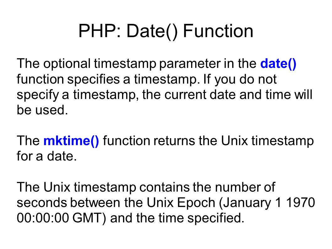 PHP: Date() Function