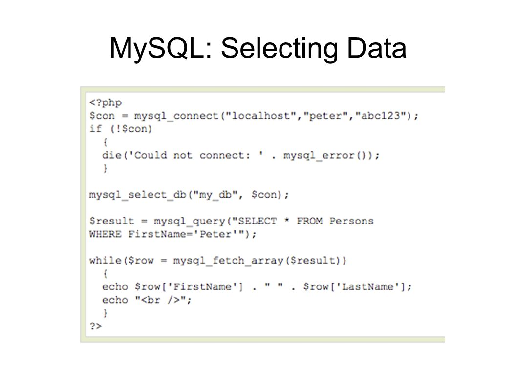 MySQL: Selecting Data
