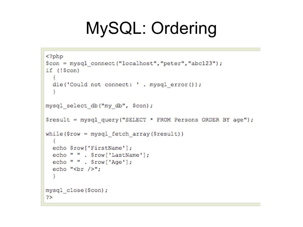 MySQL: Ordering