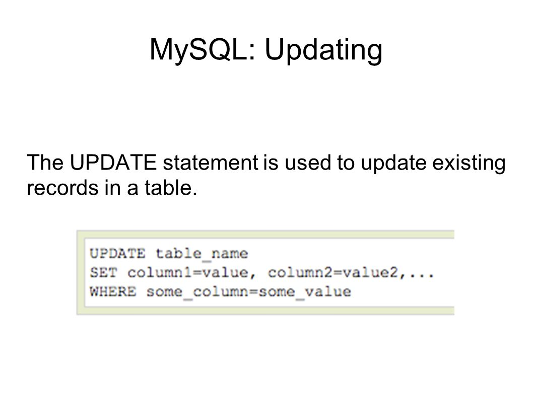 The UPDATE statement is used to update existing records in a table.