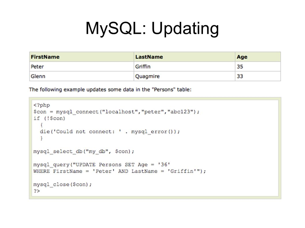 MySQL: Updating