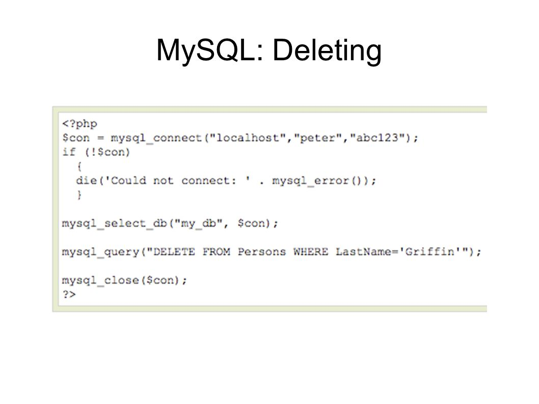 MySQL: Deleting