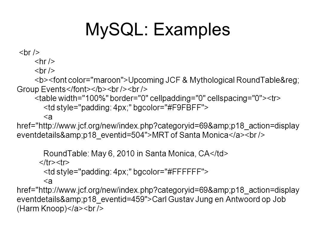 MySQL: Examples <br /> <hr />