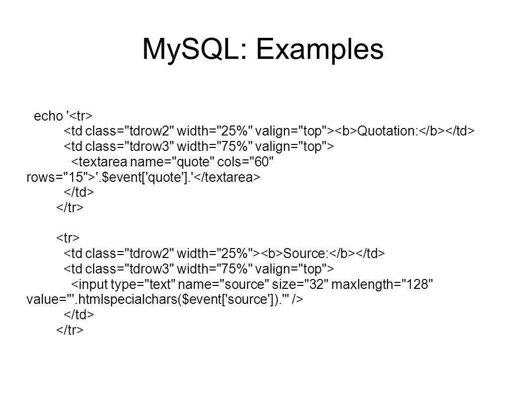 MySQL: Examples echo <tr>