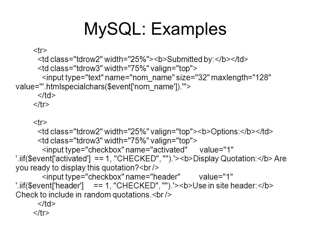 MySQL: Examples <tr>