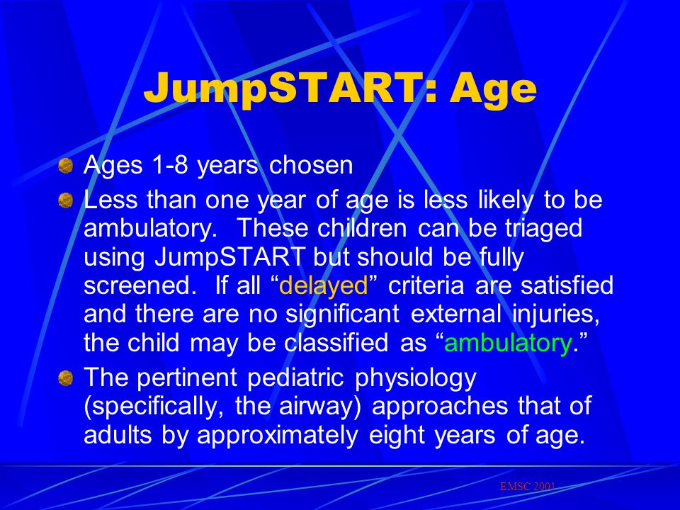 JumpSTART: Age Ages 1-8 years chosen