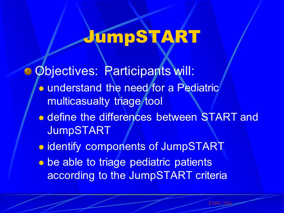 JumpSTART Objectives: Participants will: