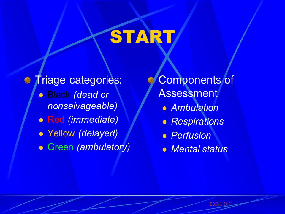 START Triage categories: Components of Assessment