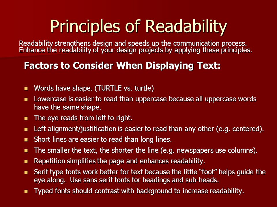 Principles of Readability