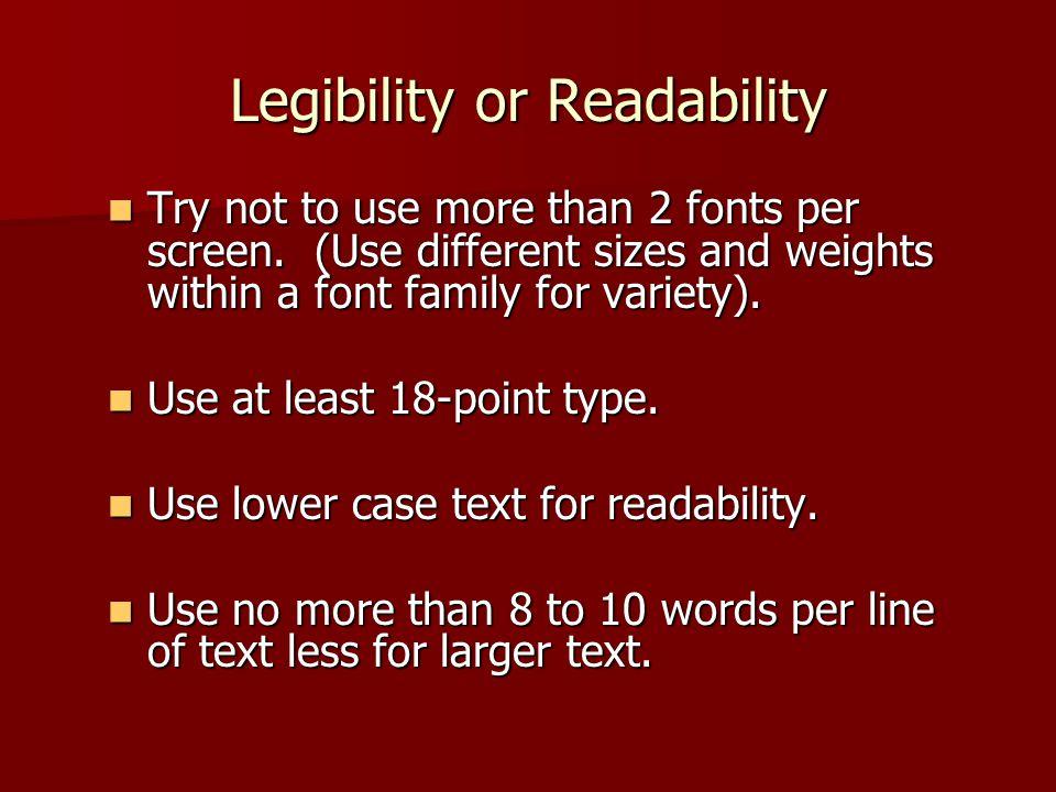Legibility or Readability