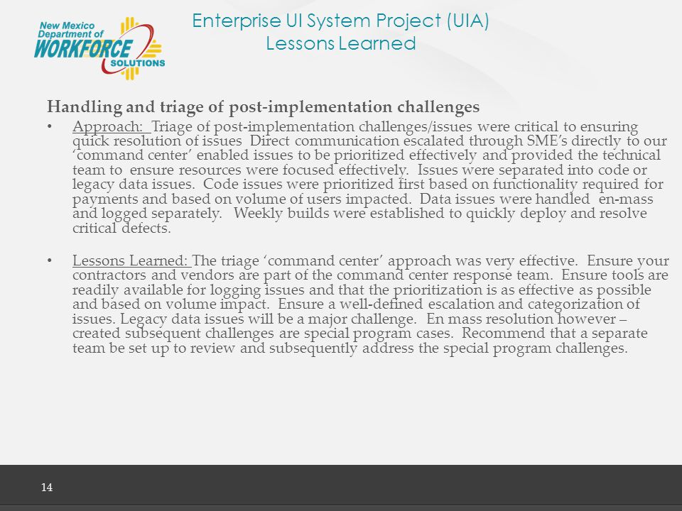 Enterprise UI System Project (UIA) Lessons Learned