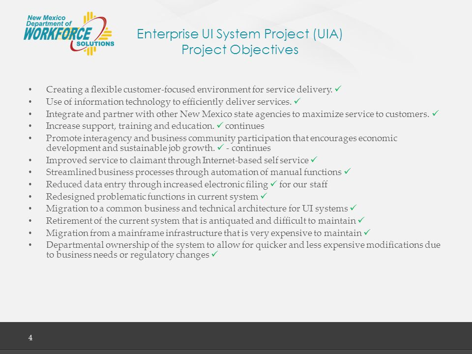 Enterprise UI System Project (UIA) Project Objectives