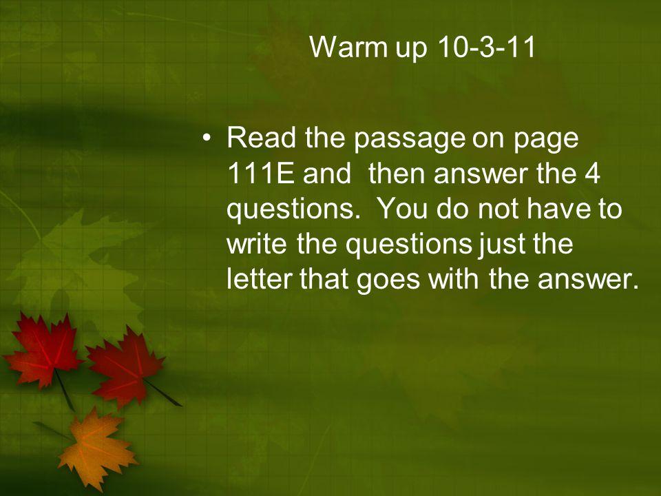 Warm up 10-3-11