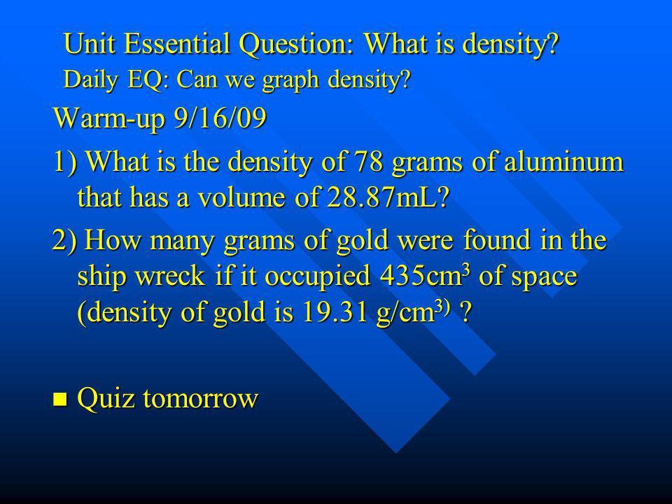 Unit Essential Question: What is density