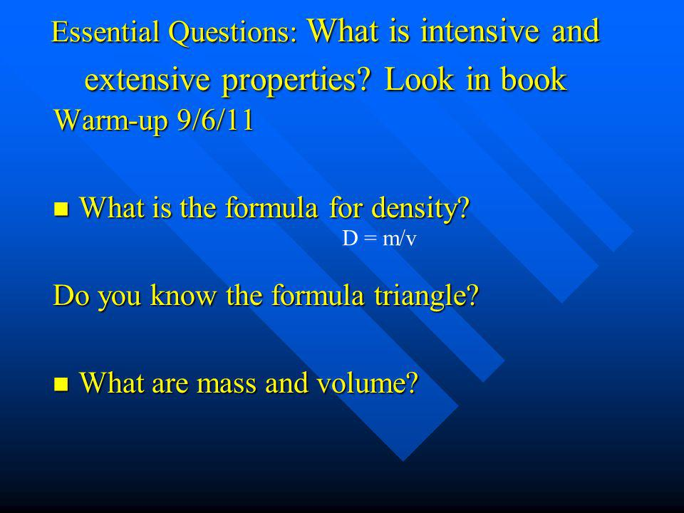 What is the formula for density Do you know the formula triangle