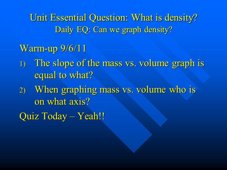 Unit Essential Question: What is density