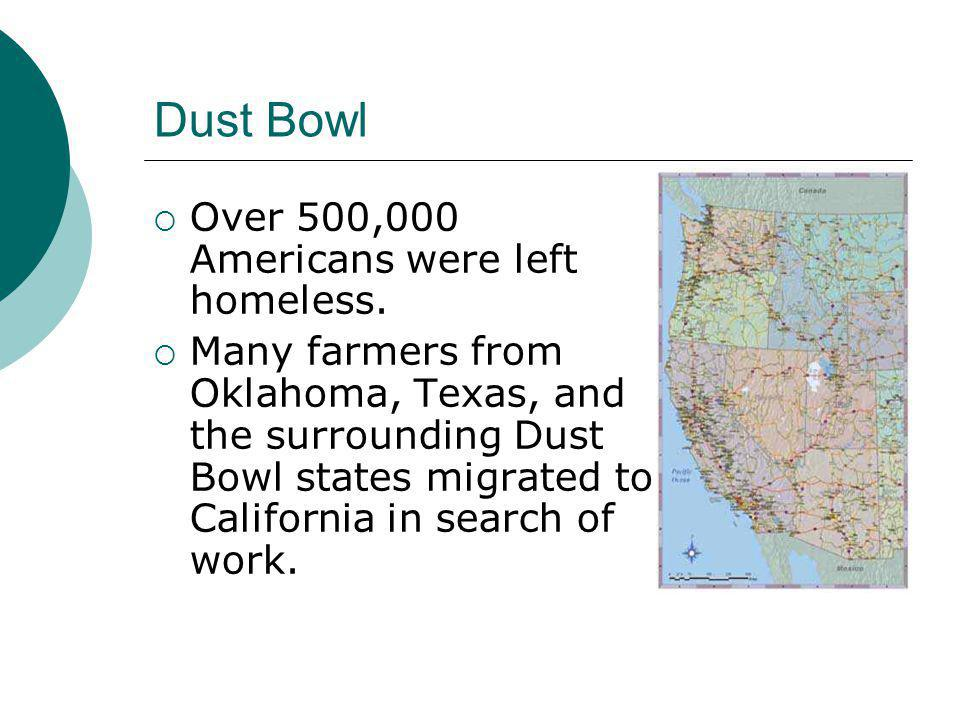 Dust Bowl Over 500,000 Americans were left homeless.
