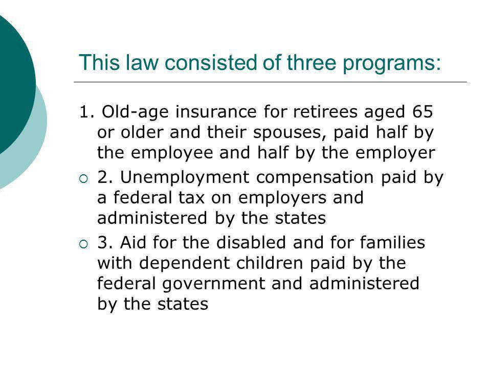 This law consisted of three programs: