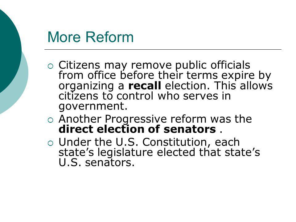 More Reform