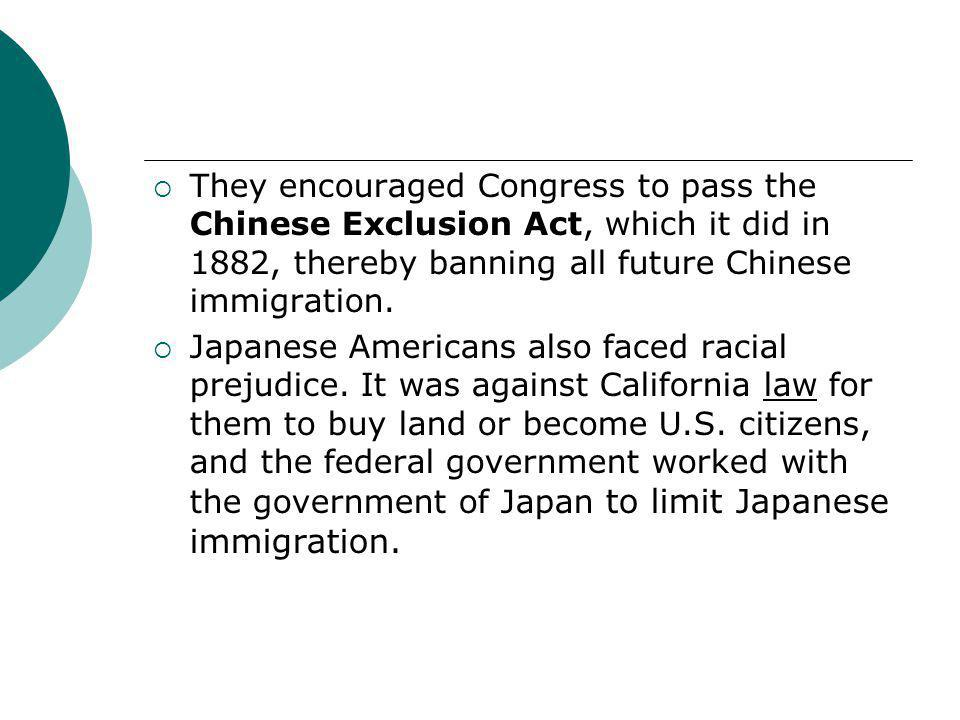 They encouraged Congress to pass the Chinese Exclusion Act, which it did in 1882, thereby banning all future Chinese immigration.