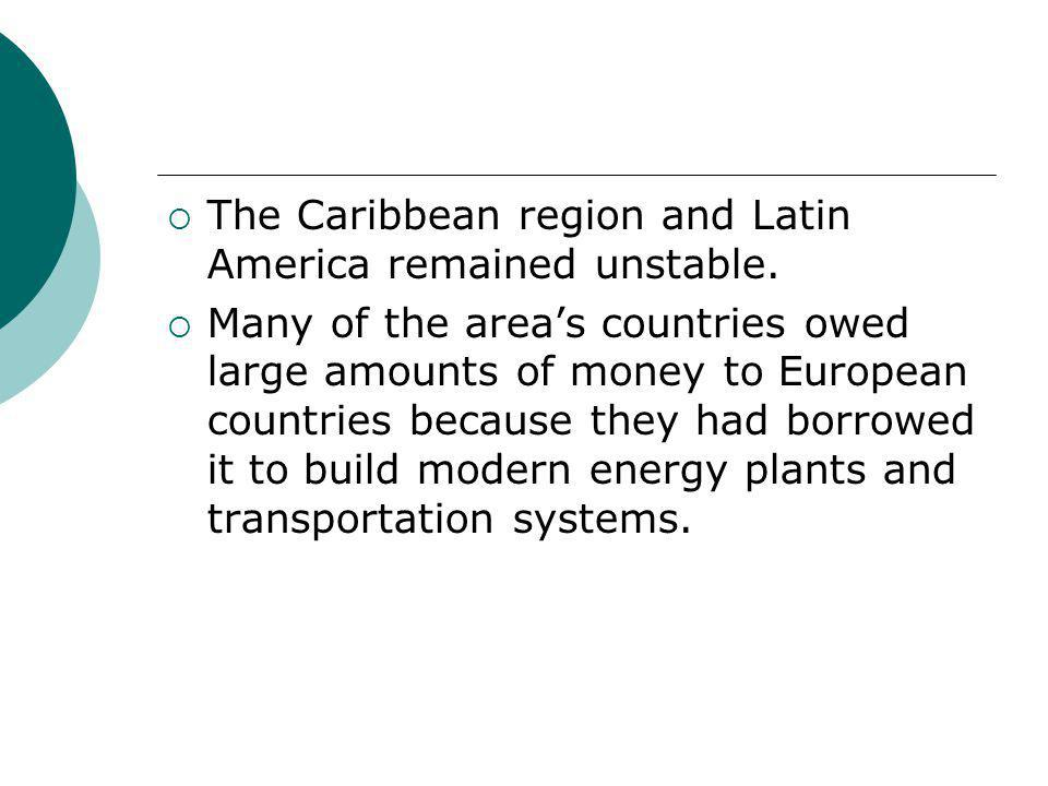 The Caribbean region and Latin America remained unstable.