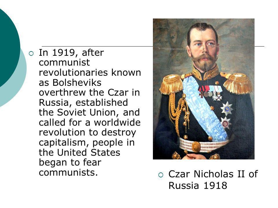Czar Nicholas II of Russia 1918